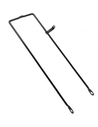 Korgstag i svart stål med smart fäste för batterilykta, L 405mm för 26-28 hjul