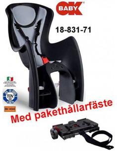 Barnsits OkBaby Body-Guard svart/grå för pakethållare